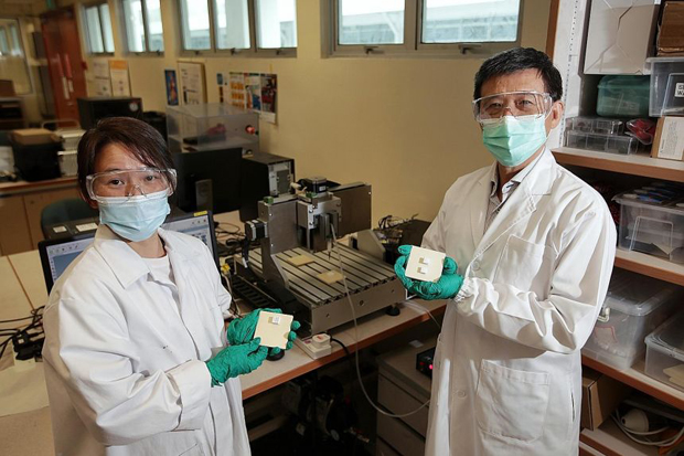 Associate Professor Lu Wen Feng (right), director of the National University of Singapore's Centre for Additive Manufacturing (AM.NUS), with researcher and principal engineer Chang Soon Yee. They are holding 3D-printed objects made from coral powder. ST PHOTO GIN TAY