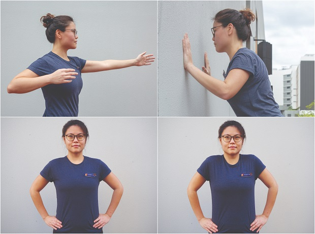 Dr Bernice Liu, Principal Physiotherapist at Sengkang General Hospital, demonstrates basic workout moves, such as trunk rotation, wall push-ups and shoulder shrugs, that can be done at home.