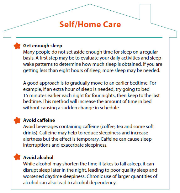 Management of excessive daytime sleepiness - self/home care - SingHealth Duke-NUS Sleep Centre